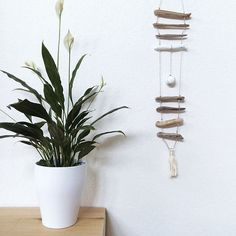 DRIFTWOOD MOBILE N7 23in long - 58cm  w/ clay stone, leather cord, tassel and white/golden accents One of a kind Beach home decor
