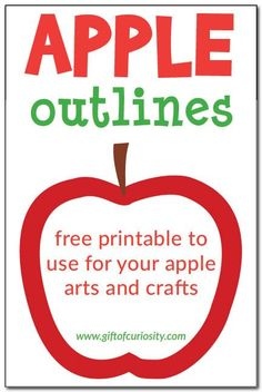 Apple outlines - free printable red and green apple outlines to use for all your apple arts and crafts #apples #freeprintables || Gift of Curiosity
