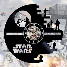 Star wars art vinyl record wall clock by ClockoLand on Etsy