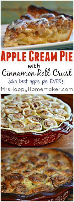 Apple Cream Pie with Cinnamon Roll Crust - Mrs Happy Homemaker