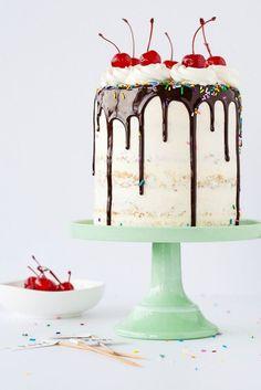 Kick off your celebration with this yummy Banana Split Cake recipe.