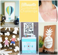 Silhouette Summer Challenge Collage. Lots of great Silhouette Craft ideas! #SilhouetteChallenge