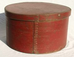 19th C large pantry box in old red paint