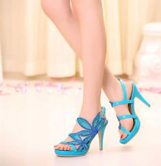 Women's Pure Color Sweet Open-toed High Heel Shoes With Rhinestone