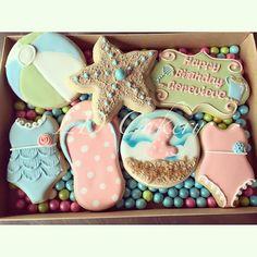 Beach birthday cookies