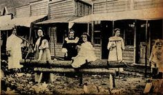 Six of Dawson City's good-time girls, or prostitutes, posing ...