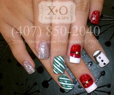 ALL READY FOR CHRISTMAS!!! :DDDD  Nail Design : Santa, Snowman, Candy cane, Snow Flake  By appointment only.  HAND PAINTED/DRAWN NAIL ART. NOT STICKERS. https://www.facebook.com/XONailsOrlando