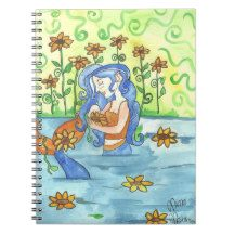 Beautiful spiral notebook of a pretty blue haired mermaid surrounded by sunflowers. Great for mermaid and fantasy lovers everywhere. Winter Fairy, Winter Magic, Star Goddess, Celtic Mythology, Curious Cat, Witch House, Cat Sleeping, Watercolor Rose, Faeries