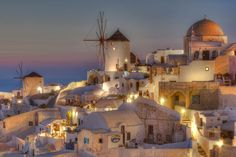 The Village of Oia on the Greek Island of Santorini by Richard Mearns Oia is a magical place, especially at twilight. Dream Vacation Spots, Vacation Places, Dream Vacations, Places To Travel, Travel Destinations, Places To Visit, Vacation Ideas, Santorini Island, Santorini Greece