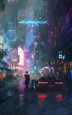Cyberpunk with a Centenario. Fanart while I patiently wait for the game to come out. Love the look of neons at night. Cyberpunk Aesthetic, Cyberpunk City, City Aesthetic, Cyberpunk 2077, Cyberpunk Tattoo, Cyberpunk Fashion, Smal Tattoo, High Tech Low Life, Last Of Us