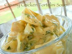 Creamy Chicken Tortellini Soup is so very good!  Cheese tortellini, spinach, and chicken in a creamy broth @Allrecipes.com