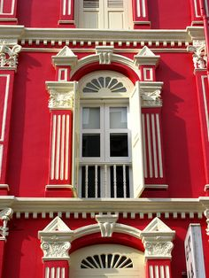 Window of a red shophouse, Chinatown, Singapore by j.labrado, via Flickr