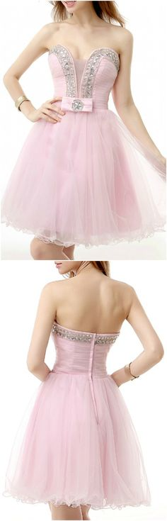 Enchanted 2016 Homecoming Dresses, Prom Dress, Blushing Pink A-Line Sweetheart Short Tulle Prom Dress With Beading, Short/Mini A Line homecoming dress, 2016 homecoming dress. Find This Lovely Dress from GemGrace, Enjoy Free Shipping Today.