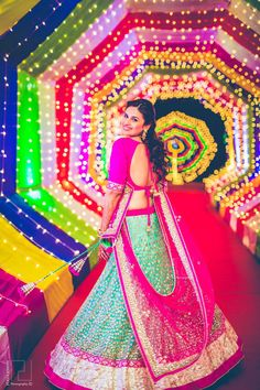 Looking for light blue and pink lehenga with silver sequin embroidery? Browse of latest bridal photos, lehenga & jewelry designs, decor ideas, etc. Desi Wedding, Wedding Stage, Wedding Pics, Trendy Wedding, Wedding Dresses, Wedding Ideas, Wedding Bride, Wedding Events, Green Wedding