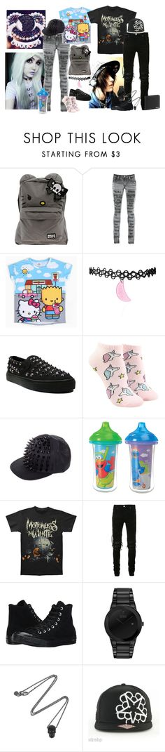 """""""mark and jess"""" by hexgirl6672 ❤ liked on Polyvore featuring Hello Kitty, PlayMe Jeans, Cute To the Core, Forever 21, AMIRI, Converse, Citizen, Alexander McQueen and Porsche Design"""