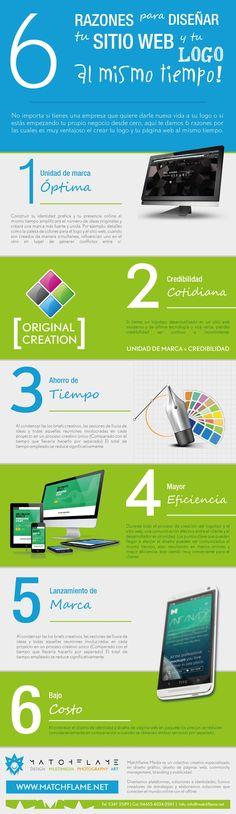 6 Razones para diseñar tu Logo y tu Página web al mismo tiempo.  #Diseño #DiseñoGráfico #Logo #Logotipo #Web #Internet #DiseñoWeb #PáginaWeb #Color #Matchflame #Infographic #Infografía