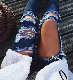 High Waisted Jeans for Women Ripped Jeans Skinny Hole Denim Pants from Clothing - The most beautiful dresses and seasonal outfits Jean Outfits, Fall Outfits, Summer Outfits, Casual Outfits, Casual Pants, Womens Jeans Outfits, Colored Jeans Outfits, Outfit Jeans, Jeans Pants