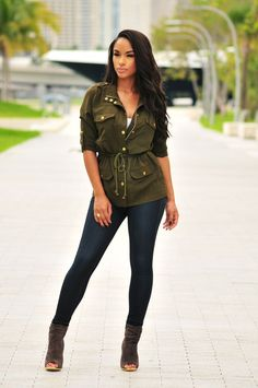 Olive Military Drawstring Jacket  [[MORE]]Fashion By Hot Miami Styles