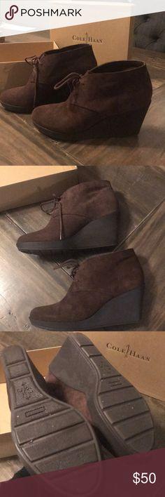Cole Haan wedge booties Brown chestnut suede booties  Worn once Cole Haan Shoes Ankle Boots & Booties