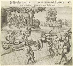 Indianen stellen de onsterfelijkheid van de Westerlingen op de proef, Theodor de Bry, Johann Theodor de Bry, 1594