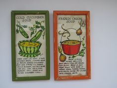 Vintage Retro Framed Pictures by Pati Soovia Janis - Pair 1960s Recipe Artwork - Orange Green Frames French Onion Soup - Cold Cucumber Soup by shabbyshopgirls on Etsy