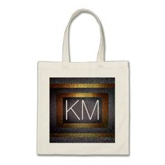 Faux Dark Gold & Silver Glitter Initialed Monogram Tote Bag - monogram gifts unique design style monogrammed diy cyo customize