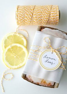 Yellow bakers twine for a lemon loaf 