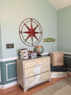 The dresser was painted with Annie Sloan Chalk Paint and completed with a vintage waterway map. Vintage Travel Bedroom, Vintage Travel Decor, Travel Room Decor, Travel Theme Nursery, Bedroom Themes, Nursery Themes, Nursery Room, Boy Room, Bedroom Decor