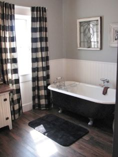 """Bathroom update 100 year old house Clawfoot tub & shower, Took out a 24"""" X 6 Closet and added a corner shower., Used peel & stick floor planks. , Bathrooms Design"""