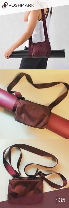 """Lululemon """"Essential"""" yoga mat carrier & pouch Lululemon Essential mat carrier with detachable pouch in beautiful Bordeaux. Like new condition. Only used a couple times. lululemon athletica Other"""