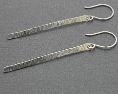 Sterling Silver Stick Earrings, Hammered Bar, Bar Earrings, Modern, Minimal