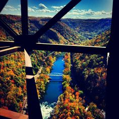 The view from the catwalk of the New River Gorge Bridge, 876 feet above the New River.