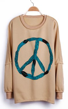To find out about the Apricot Peace Sign Print Drop Shoulder Pullover Sweatshirt at SHEIN, part of our latest Sweatshirts ready to shop online today! Pretty Outfits, Cool Outfits, Hippie T Shirts, Mode Style, Cool Shirts, Dress To Impress, Nice Dresses, What To Wear, Vintage Outfits