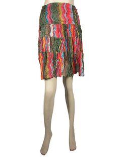 Hippie Retro Skirt Colorful Printed Tiered Cotton Mini Skirt $16.50
