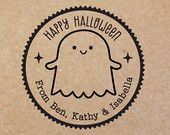 NEW Rubber Stamps in the new shop!   Personalized Halloween Ghost Rubber Stamp (Wood Engraved or Self Inked) Address OR Make Your Own Text - - 0032