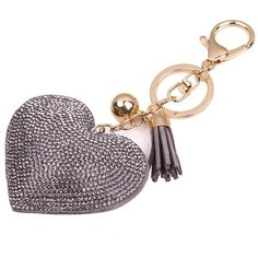 Clearance!Key Chain,Canserin Love Rhinestone Tassel Keychain Key Ring ($2.29) ❤ liked on Polyvore featuring accessories, ring key chain, fob key chain, key chain rings, pink key chains and tassel key ring