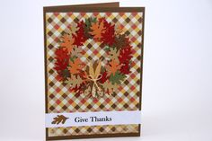 Give Thanks for Fall Card - Leaf Wreath Fall Card - Give Thanks Wreath Card - Fall Wreath Card - pinned by pin4etsy.com