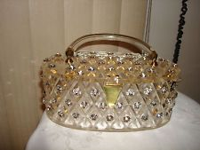 Vintage 60's Unique Clear Carved Lucite Purse Clutch Handbag Huge Rhinestone