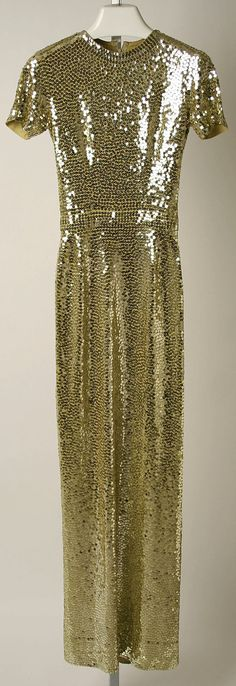 Dress, Evening - Norman Norell 1960 gold sequins beads long gown color photo print ad museum