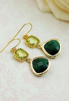 Emerald glass and Olive green glass connector Stylish Glass Drop Earrings - Earrings Nation