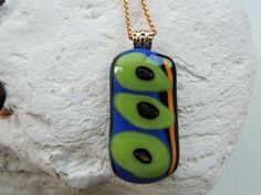 fused glass necklacefused glass pendantgreen by Homeforglasslovers