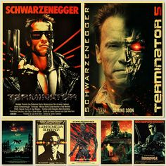 Retro Posters and Prints Classic Movie The Terminator Home Room Wall Decoration Vintage Poster Paintings Printed Wall Decor Vintage Wall Art, Vintage Posters, Retro Posters, Vintage Paper, Painting Wallpaper, Painting Prints, Spray Painting, Types Of Art Styles, Wall Art Crafts