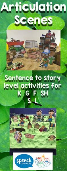 This pack targets sentences, storytelling and the generalisation part of the articulation hierarchy. Everything is included to make sound-loaded scenes. The scenes can be used with playdough or sand as a base. Background scenes are provided to make a diorama using a shoe box. The options and possibilities for sentence generation are endless. The pack includes pictures for initial, medial and final positions for the super six:/K/ /G/ /F/ Sh /S/ /L/