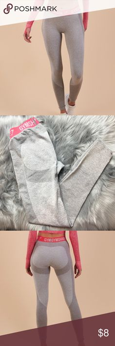 """Gymshark Flex Leggins Small Gymshar Flex Leggings, color: light grey marl/sherbet pink. It's not in perfect conditions, it has a lil hole on one of the legs and the elastic band doesn't look as good as new anymore ( exactly as shown in pics)  It retails for $38 + $10 Shipping   -Seamless Knit -Elasticated performance waistband  -Interwoven pattern  56% Nylon , 41% Polyester,  3% Elastane   Model is 5'10"""" and wears size S  I am 5'6"""" and also wear a size S Gymshark Pants Leggings"""