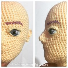 """My oval male prototype with eye on... you know what is """"air erasable marker for fabric"""", the one draws the eyebrow. #amigurumi #crochet…"""