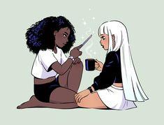 i love your art so much! Black Love Art, Black Girl Art, Art Girl, Black Anime Characters, Black Art Pictures, Lesbian Art, Witch Art, Afro Art, Magic Art
