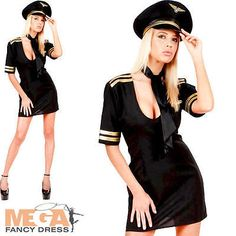Sexy airline #pilot + hat ladies #fancy dress uniform #womens adults costume outf,  View more on the LINK: http://www.zeppy.io/product/gb/2/111715041302/