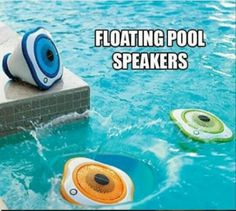 Set of 3 Floating LED Pool Speakers. Simply toss the waterproof speakers into the pool and start the music, transmits wirelessly via from a single bass station. When not in the pool, the speaker work equally well on dry ground. Cool Stuff, Inspektor Gadget, Summer Fun, Summer Time, Summer Months, Summer Pool, Free Summer, Piscina Intex, Living Pool