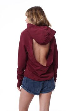 Open Back Zip hoodie Cranberry Red #HOLIDAY-2015 #HOODIES #LARGE