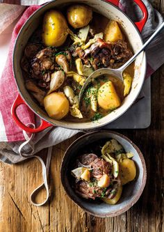 Neck of lamb needs slow cooking, so be prepared to invest a few hours, but it's worth it to get the best out of this flavoursome cut.  Credit: Woolworths TASTE/Toby Murphy. Recipe Email, Dry Red Wine, Garlic Head, Artichoke, Pot Roast, Casserole, Lamb, Slow Cooker, The Best